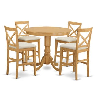 Off-white Rubberwood 5-piece Counter-height Dining Table Set