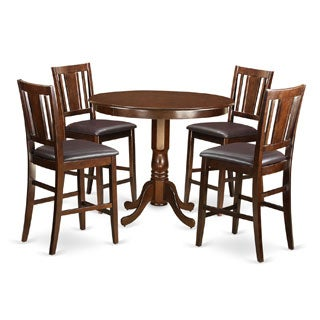 TRBU5-MAH Brown-finished Solid Wood 5-piece Counter-height Table and Chair Set