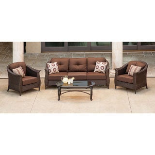 Hanover Outdoor Gramercy Brown Polyethylene Wicker 4-piece Patio Seating Set