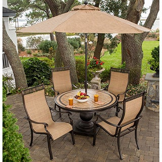 Hanover MONACO5PC-SU Monaco 5-piece Outdoor Dining Set with Umbrella