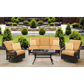 Lovely Hanover Orleans Tan Resin Outdoor 4 Piece All Weather Patio Set