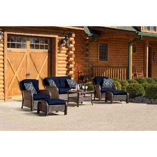 Hanover STRATHMERE6PCNVY Strathmere Navy Blue Steel Six-piece Outdoor Lounge Set