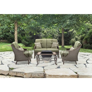Hanover VENTURA4PCFP-MDW Ventura Vintage Meadow Aluminum 4-piece Outdoor Conversation Set with Wood-burning Fire Pit