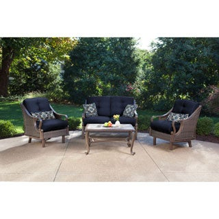 Hanover Ventura Navy Blue Aluminum 4-piece Outdoor Patio Set