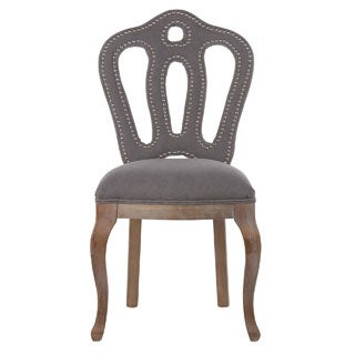 Butterfly Elegant Frost Grey Dining Chair with Silver Nailheads