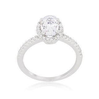 Kate Bissett Oval-cut Floating Halo Cubic Zirconia Engagement Ring - White