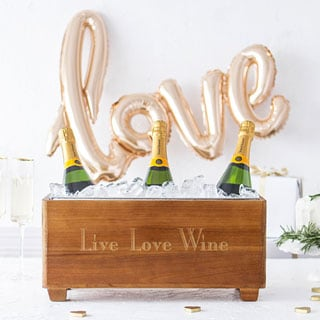 Live Love Wine Wooden Wine Trough
