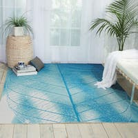 Nourison Coastal Aqua Indoor/ Outdoor Area Rug - 5'3 x 7'5