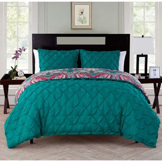 VCNY Maison 3-piece Reversible Pintucked Duvet Cover Set