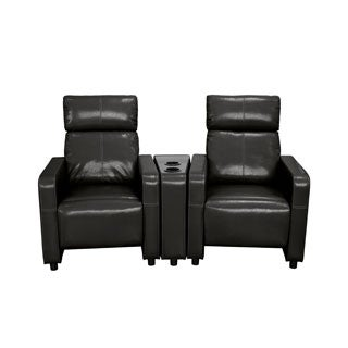 Lyke Home Black Polyurethane Push Back Recliner