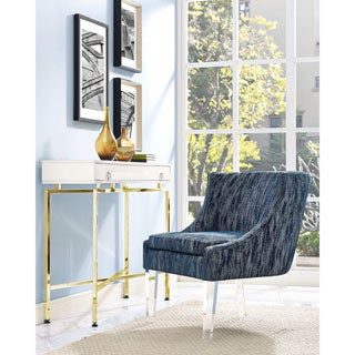 Myra Blue Velvet/Acrylic Textured Chair