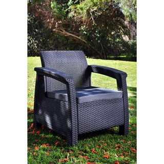 Keter Corfu Charcoal All-weather Outdoor Garden Patio Armchair with Cushions