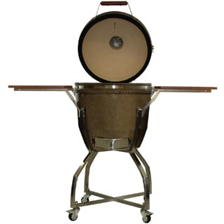 Hanover Kamado Brown Stainless Steel/Ceramic 19-inch 285-square inch Cook Grill with Cart and Shelves