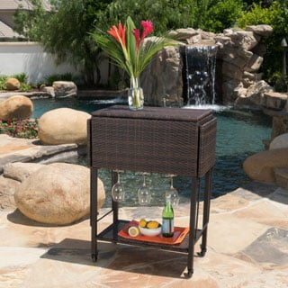 Alohi Outdoor Wicker Bar Cart by Christopher Knight Home