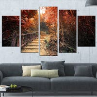 Stairway Through Red Fall Forest - Landscape Photography Wall Art