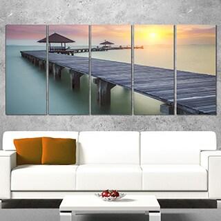 Wooden Sea Bridge and Sunset -Seashore Large wall art canvas