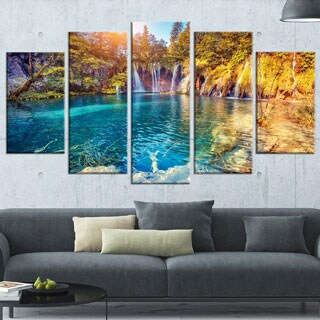 Turquoise Water and Sunny Beams Large Landscape Photo Canvas Print
