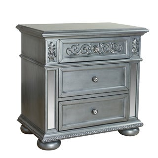 LYKE Home Silver-finish Wood Nova Nightstand