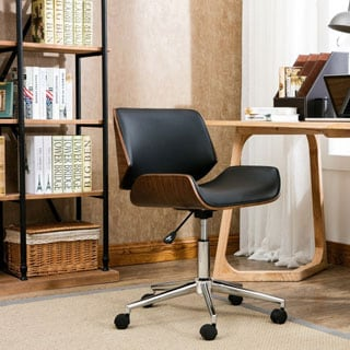 porthos home dove wood and fauxleather office chair