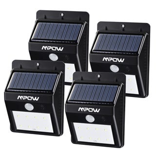 Mpow Black Plastic Solar-powered Wireless Security Motion Sensor Light Outdoor 8 LED Bulb Lamp (Pack of 4)