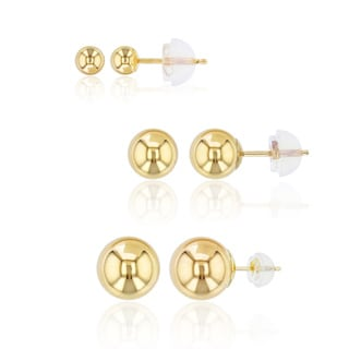 Decadence 14k Gold Ball Stud Set with 14k Silicon Backs