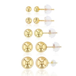 Decadence 14K Gold Yellow Ball Stud Set with 14K Silicon Backs