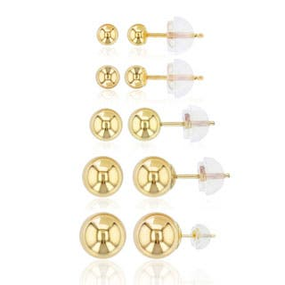 Decadence 14K Gold Yellow Ball Stud Set with 14K Silicon Backs|https://ak1.ostkcdn.com/images/products/P18985614a.jpg?impolicy=medium