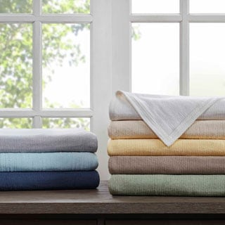 Madison Park Freshspun Basketweave Cotton Blanket