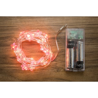 Allure Pink Copper Flowers 10-foot 30-light String with Timer