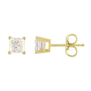 De Couer 14k Yellow Gold 1/2ct TDW Princess Cut Diamond Solitaire Stud Earrings