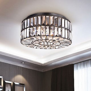 Justina Crystal Glass Prism Flush Mount Chandelier in Antique Black