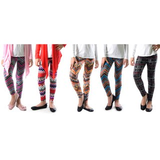 Pack of 5: Dinamit Girl's Multicolor Nylon, Spandex Printed Leggings