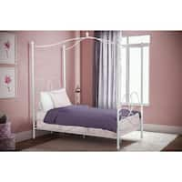 DHP Fancy White Metal Canopy Twin Bed