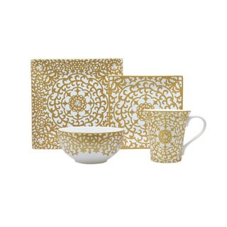 222 Fifth Casbah Gold Porcelain Dinnerware (Setting for 4)