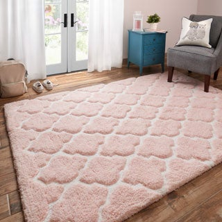 Hand-tufted Riley Blush/ Ivory Trellis Dots Shag Rug (5'0 x 7'0)
