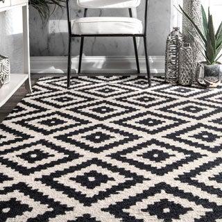 nuLOOM Handmade Abstract Wool Fancy Pixel Trellis Rug (4' x 6')