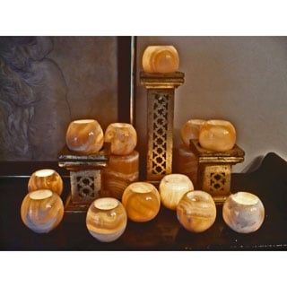 Handmade Set of 12 Alabaster Globes (Egypt)