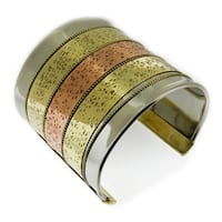 Handmade Artisan Tri-color MIxed Metal Wide Triple Bands Cuff Bracelet (India)
