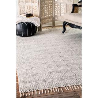 nuLOOM Handmade Flatweave Sparkling Cotton Fringe Ivory Rug (7'6 x 9'6)