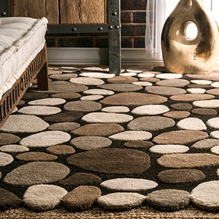nuLOOM Hand-carved Stones and Pebbles Wool Rug (2' x 3')