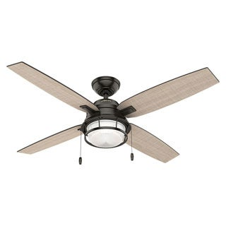 outdoor ceiling fans. Hunter Ocala Noble 52-inch Bronze Fan With 4 Black Willow/Maple Reversible Blades Outdoor Ceiling Fans
