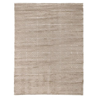 Exquisite Rugs Greek Key Beige New Zealand Wool and Viscose from Bamboo Silk Rug (10' x 14')
