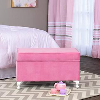 HomePop Diva Juvenile Decorative Storage Bench Pink
