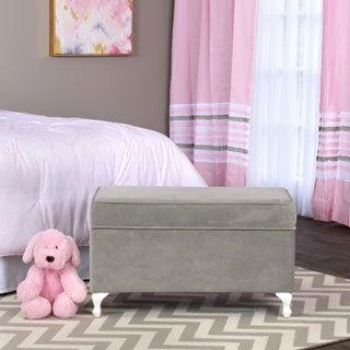 HomePop Diva Decorative Storage Bench Dove Grey