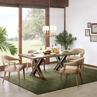 Madison Park Aidan Natural Rectangle Table with Xavier Base