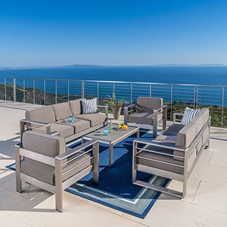 Aluminum patio furniture Brown Jordan Cape Coral Outdoor Aluminum 5piece Sofa Set With Cushions By Christopher Knight Home Overstock Aluminum Patio Furniture Find Great Outdoor Seating Dining Deals