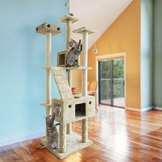 Tiger Tough Double Decker Grey/Cream Wood, Metal, and Sisal Rope Cat Tree House Playground (2 options available)