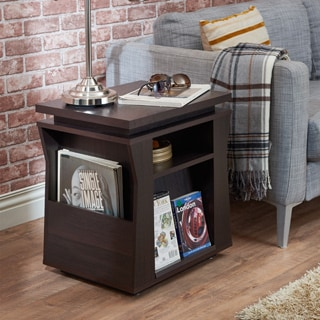 Furniture of America Menli Contemporary Espresso Angular Magazine Storage End Table