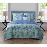VCNY Harper Blue 5-piece Reversible Quilt Set