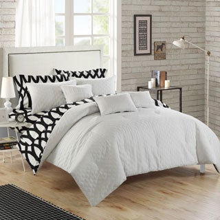 Chic Home Stein White Diamond 10-Piece Comforter Bed In a Bag with Sheet Set